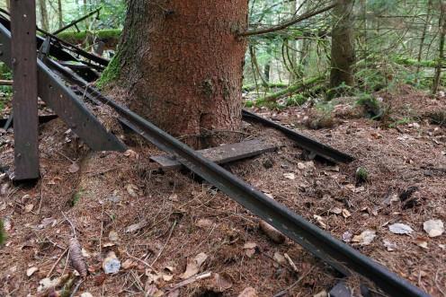 Voie ferrée anciennement utilisée pour le transport de la tourbe