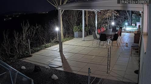 Vue ouest de la terrasse de nuit